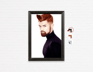 Salon Poster Click Frames, One-Sided:  Man with High Fade Quiff Haircut in Black Outfit