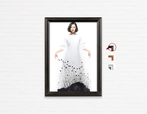 Salon Poster Click Frames, One-Sided:  Woman in Bob Hairstyle with Graphic Design Gown