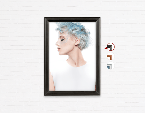 Salon Poster Click Frames, One-Sided:  Woman with Blue Spiky Hair