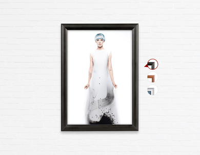 Salon Poster Click Frames, One-Sided:  Woman Full Body v2 with Blue Hair in Graphic Gown