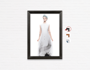 Salon Poster Click Frames, One-Sided:  Woman Full Body with Blue Spiky Hair in Graphic Gown