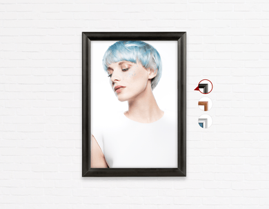Salon Poster Click Frames, One-Sided:  Woman with Side Blue Hair in Graphic Gown