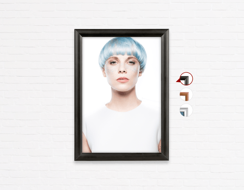 Salon Poster Click Frames, One-Sided:  Woman with Front Blue Hair in Graphic Gown