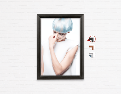 Salon Poster Click Frames, One-Sided:  Woman with Blue Hair in White Gown