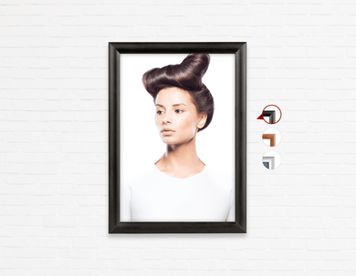 Salon Poster Click Frames, One-Sided:  Woman in Side Quiff Hairstyle with Tree Graphic Design Gown