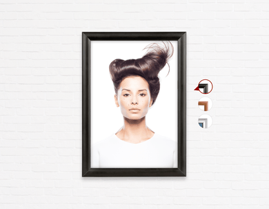 Salon Poster Click Frames, One-Sided:  Woman in Front Quiff Hairstyle with Tree Graphic Design Gown