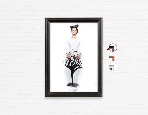 Salon Poster Click Frames, One-Sided:  Woman in Quiff Hairstyle with Tree Graphic Design Gown