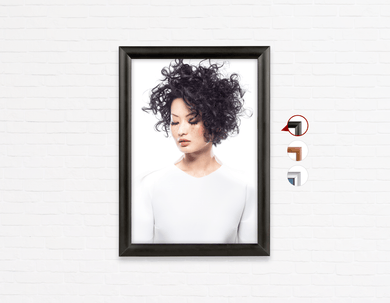 Salon Poster Click Frames, One-Sided: Woman with Curly Short Hairstyle