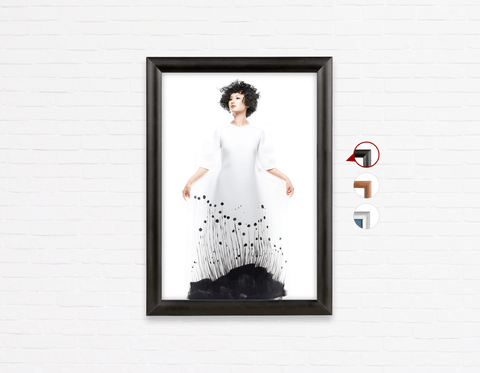 Salon Poster Click Frames, One-Sided: Woman with Messy Curls Short Hairstyle in Grass Graphic Gown