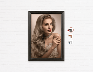 Salon Poster Click Frames, One-Sided: Woman in Big Curls Hollywood Glam Look