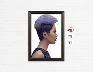 Salon Poster Click Frames, One-Sided: Woman with Short Hairstyle in Purple Shade Hair Color