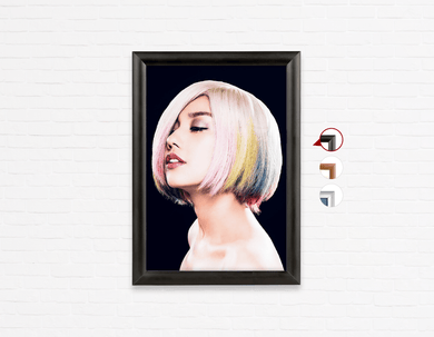 Salon Poster Click Frames, One-Sided: Woman in Pink, Blue, Yellow Unicorn Hair