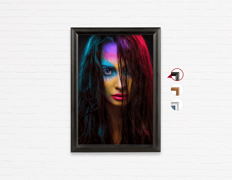 Salon Poster Click Frames, One-Sided: Woman in Neon Multi Colored Makeup