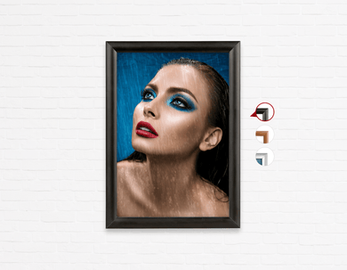 Salon Poster Click Frames, One-Sided: Woman in Bright Blue Eyeshadow in the Rain