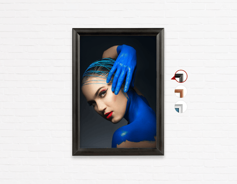 Salon Poster Click Frames, One-Sided: Woman in Blue Body Paint and Red Makeup