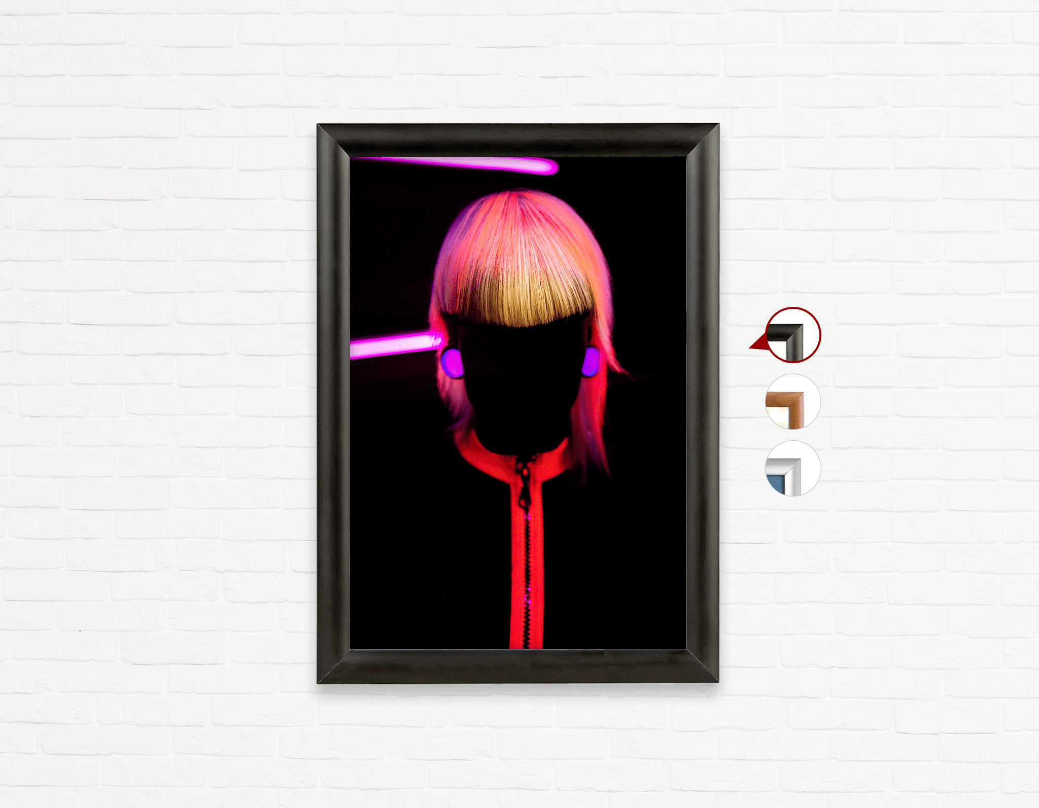 Salon Poster Click Frames, One-Sided: Bob with Neon Colored Hairstyle in Silhouette