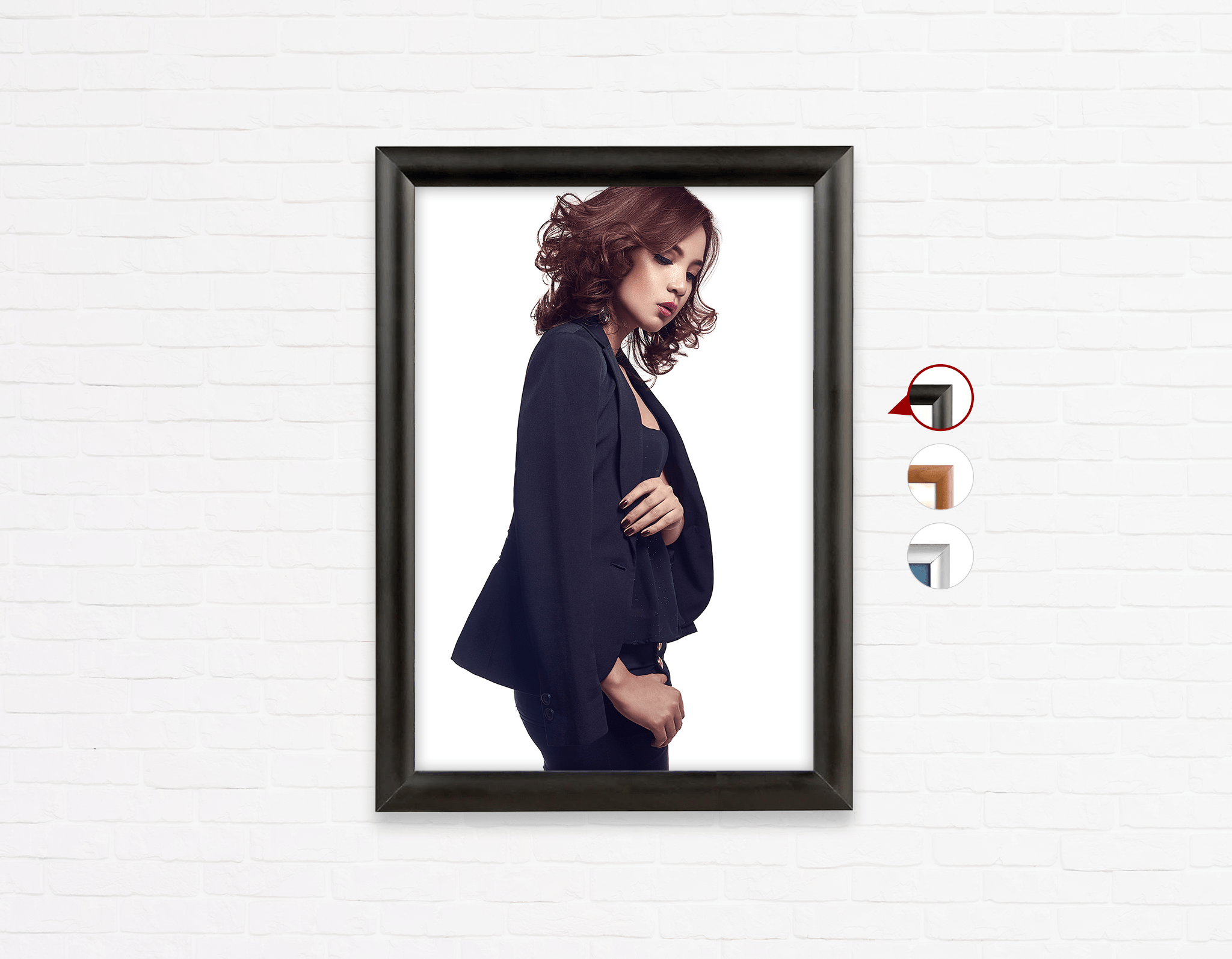 Salon Poster Click Frames, One-Sided: Woman with Messy Tousle and Center Parts