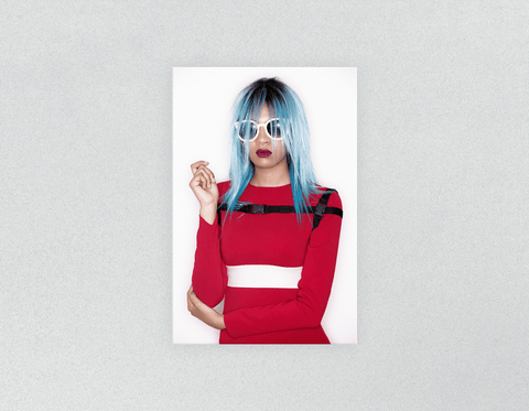 Plastic Salon Posters: Woman Front with Blue Bob Hairstyle in Red Dress