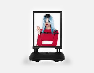 Water Base Pavements Sign: Woman Front with Blue Bob Hairstyle in Red Dress - Bound for Style