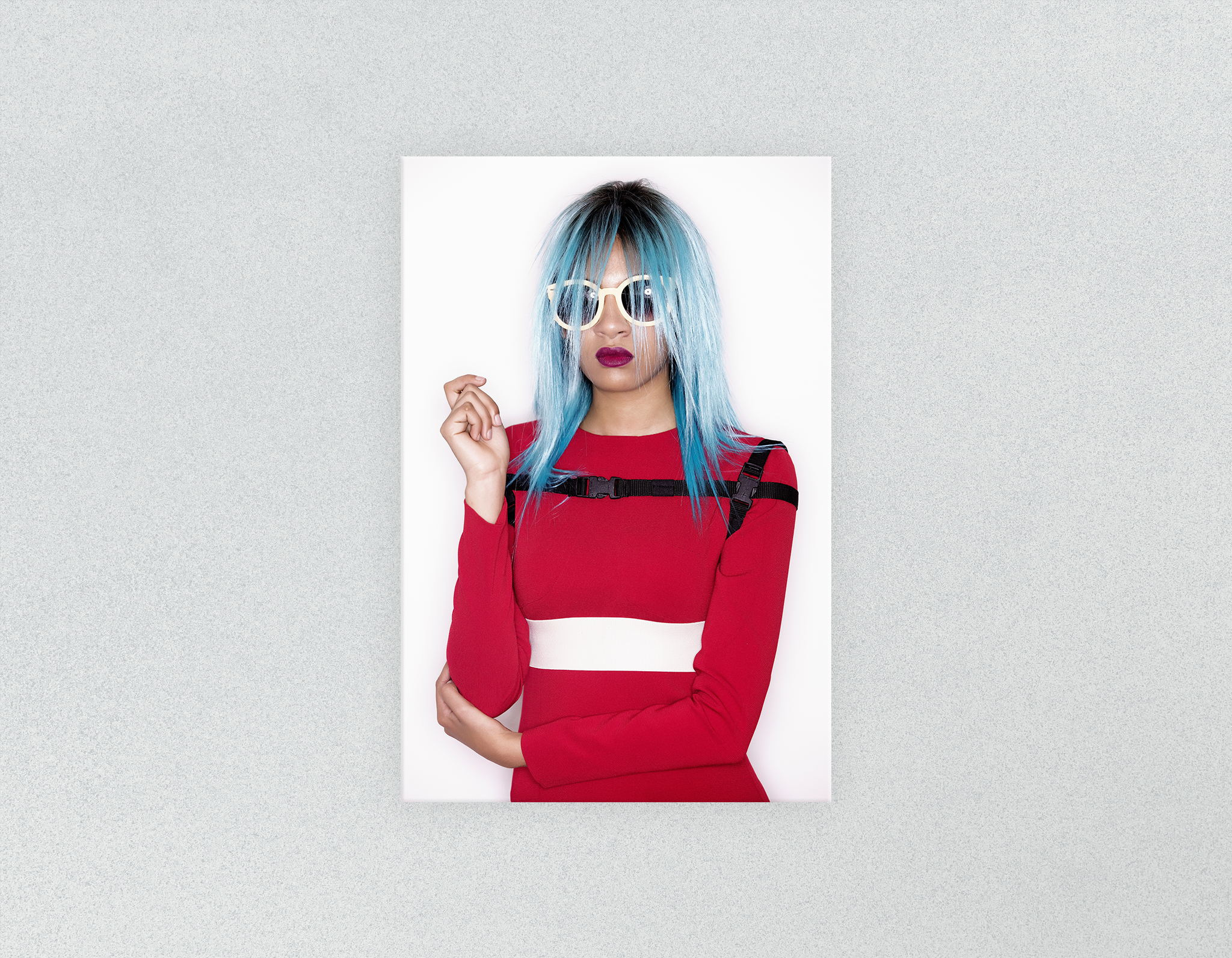 Salon Posters: Woman Front with Blue Bob Hairstyle in Red Dress
