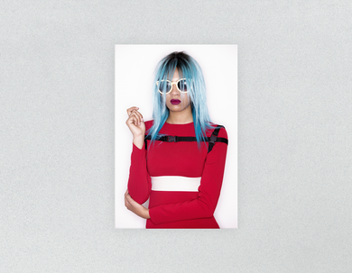Plastic Salon Posters & Salon Posters: Woman Front with Blue Bob Hairstyle in Red Dress - Bound for Style