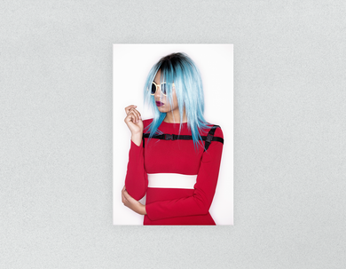 Plastic Salon Posters & Salon Posters:  Woman with Blue Bob Hairstyle in Red Dress - Bound for Style