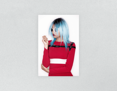 Plastic Salon Posters: Woman with Blue Bob Hairstyle in Red Dress - Bound for Style