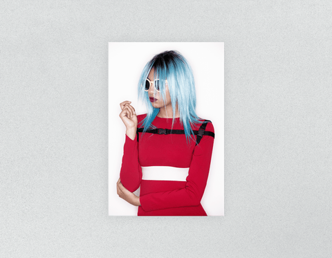 Plastic Salon Posters: Woman with Blue Bob Hairstyle in Red Dress