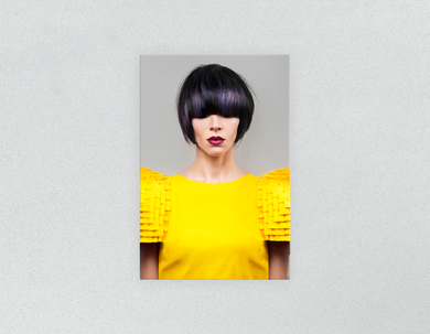 Plastic Salon Posters & Salon Posters:  Woman Front with Bob Hairstyle with Purple Highlights - Bound for Style