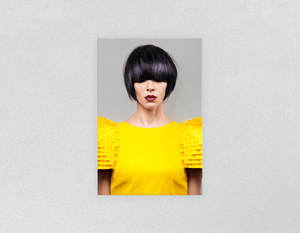 Plastic Salon Posters: Woman Front with Bob Hairstyle with Purple Highlights - Bound for Style