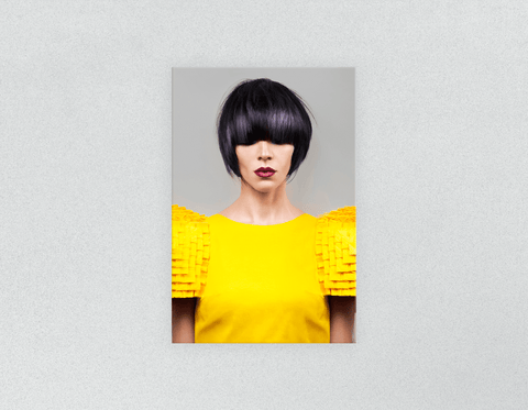Plastic Salon Posters: Woman Front with Bob Hairstyle with Purple Highlights
