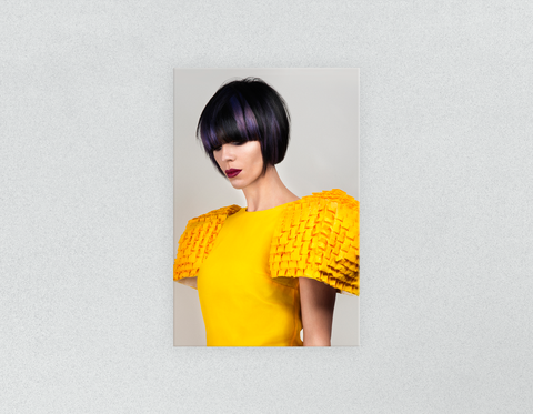 Plastic Salon Posters & Salon Posters: Woman with Bob Hairstyle with Purple Highlights