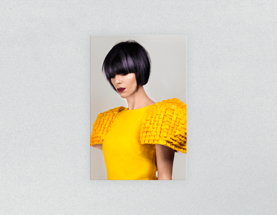 Plastic Salon Posters: Woman with Bob Hairstyle with Purple Highlights - Bound for Style