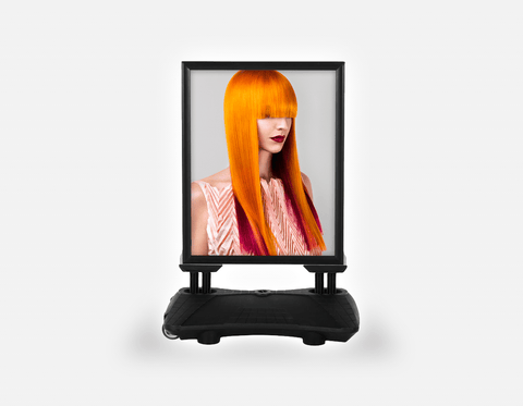 Water Base Pavements Sign: Woman Front 2 with Long Orange Colored Hair
