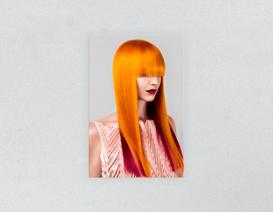 Plastic Salon Posters: Woman Front 2 with Long Orange Colored Hair - Bound for Style