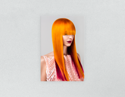 Plastic Salon Posters & Salon Posters: Woman Front 2 with Long Orange Colored Hair