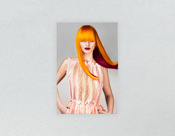 Plastic Salon Posters & Salon Posters: Woman Front with Long Orange Colored Hair - Bound for Style