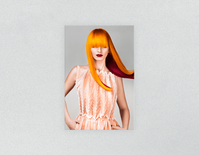 Plastic Salon Posters: Woman Front with Long Orange Colored Hair - Bound for Style