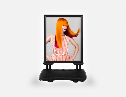 Water Base Pavements Sign: Woman with Long Orange Colored Hair
