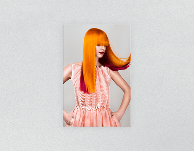 Plastic Salon Posters: Woman with Long Orange Colored Hair - Bound for Style