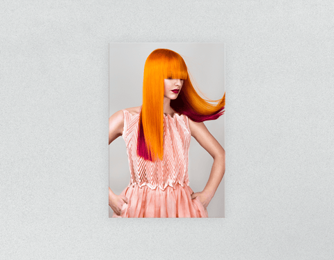 Plastic Salon Posters: Woman with Long Orange Colored Hair