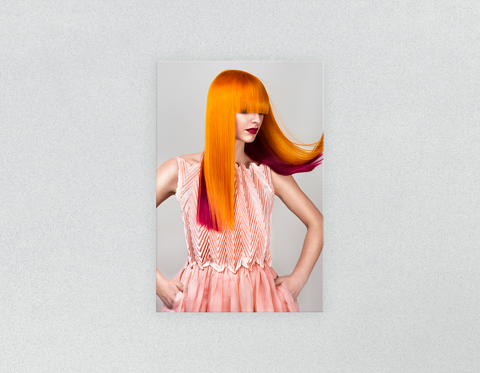 Plastic Salon Posters & Salon Posters: Woman with Long Orange Colored Hair