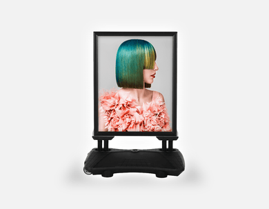 Water Base Pavements Sign: Woman with Green Hair in Peach Floral Textured Dress - Bound for Style