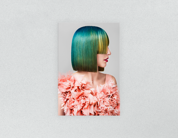 Plastic Salon Posters & Salon Posters: Woman with Green Hair in Peach Floral Textured Dress - Bound for Style