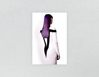 Plastic Salon Posters: Woman with Long Purple Color Hair - Bound for Style