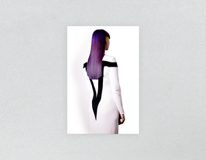 Plastic Salon Posters & Salon Posters: Woman with Long Purple Color Hair - Bound for Style