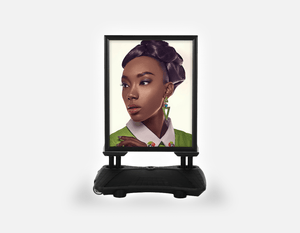 Water Base Pavements Sign: Black Woman in Updo with Big Curls - Bound for Style