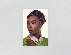 Plastic Salon Posters: Black Woman in Updo with Big Curls - Bound for Style