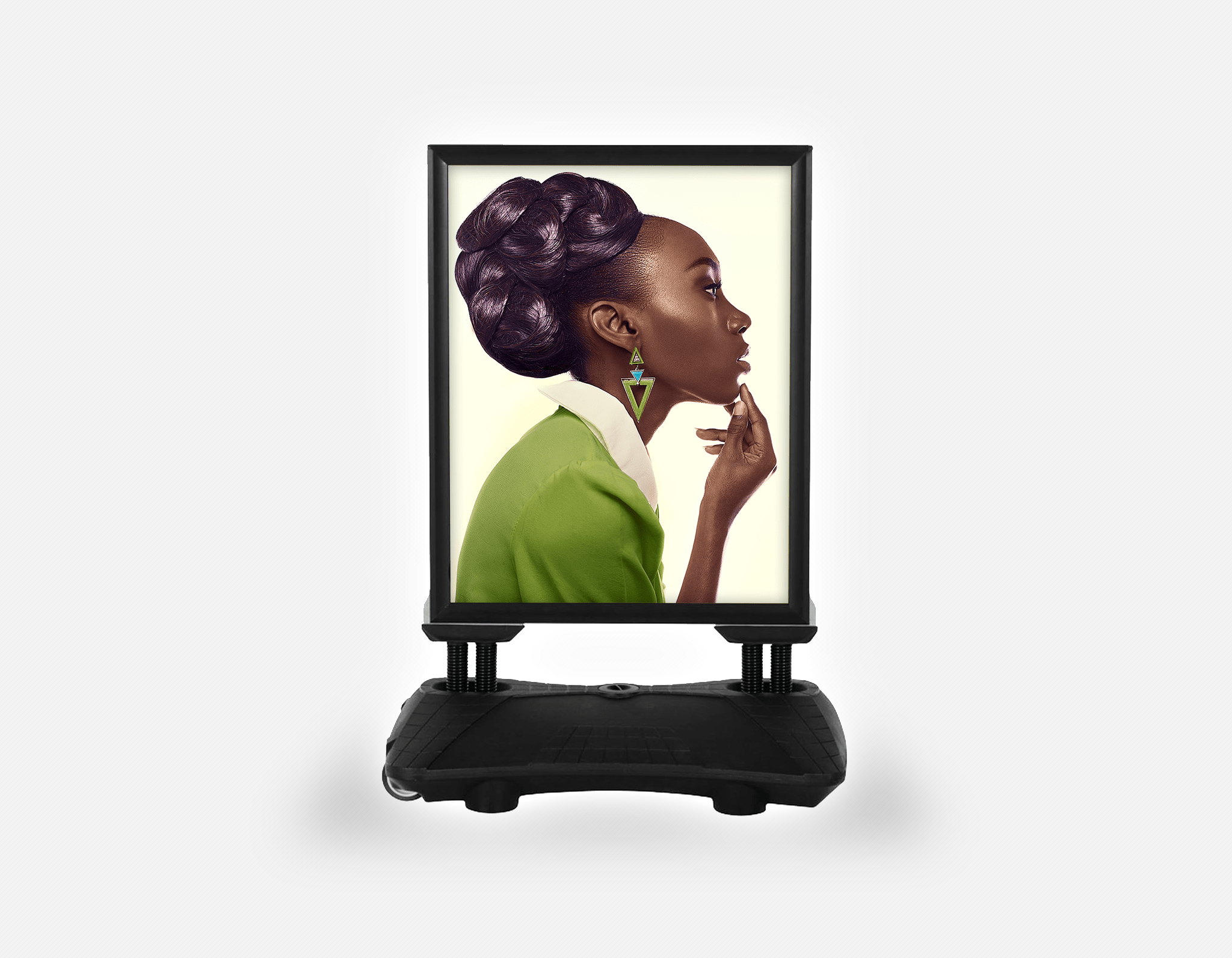Water Base Pavements Sign: Dark Skinned Woman in Updo with Big Curls