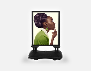 Water Base Pavements Sign: Dark Skinned Woman in Updo with Big Curls - Bound for Style